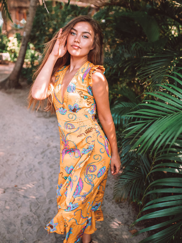Sunflower Bird Midi Dress Yellow