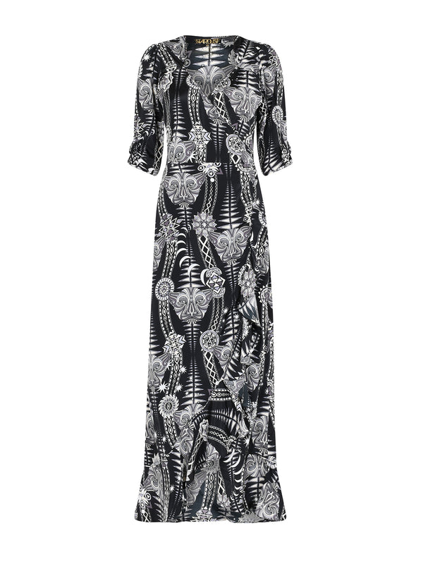 Tribal Sweetheart Flamenco Maxi Dress Black Diamond