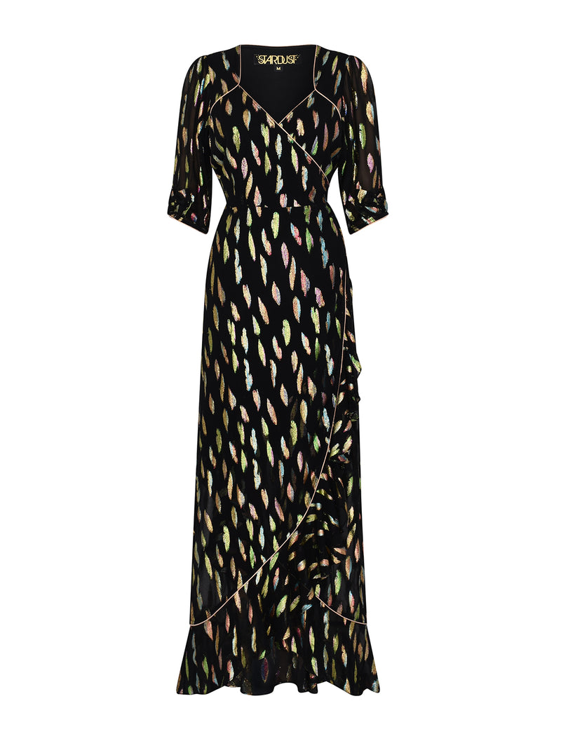 Sweetheart Flamenco Maxi Dress Metallic Sunset