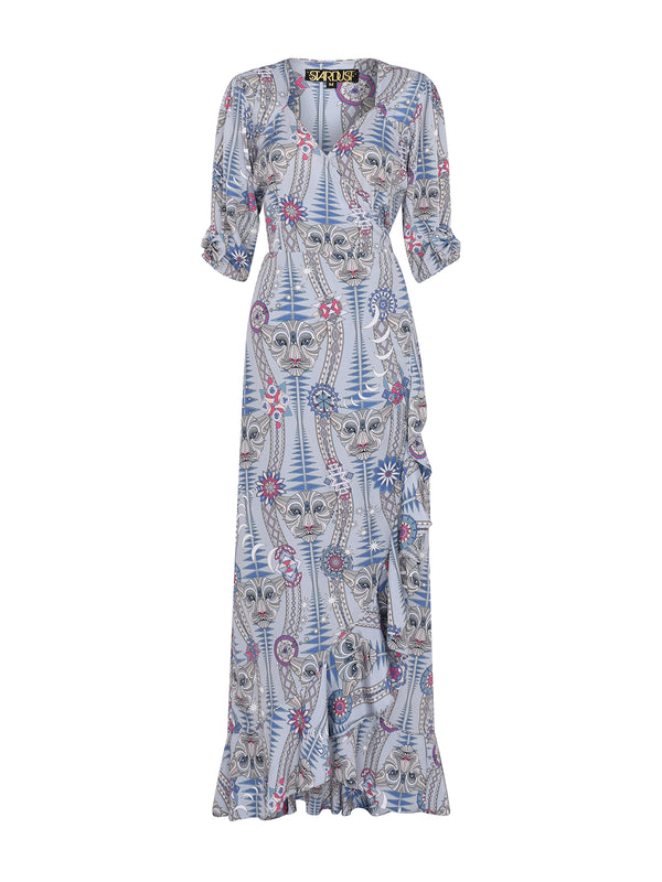 Tribal Sweetheart Flamenco Maxi Dress Snow Leopard