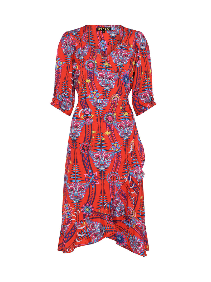 Tribal Sweetheart Midi Dress Electric Sunset