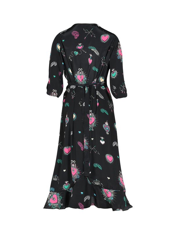 Sweetheart Heart Midi Dress Black & Multicolour