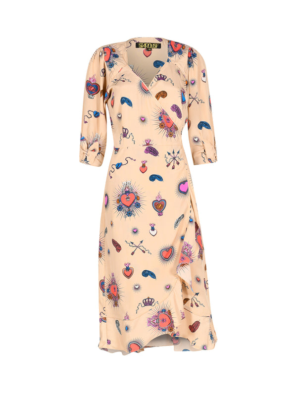 Sweetheart Heart Midi Dress Beige