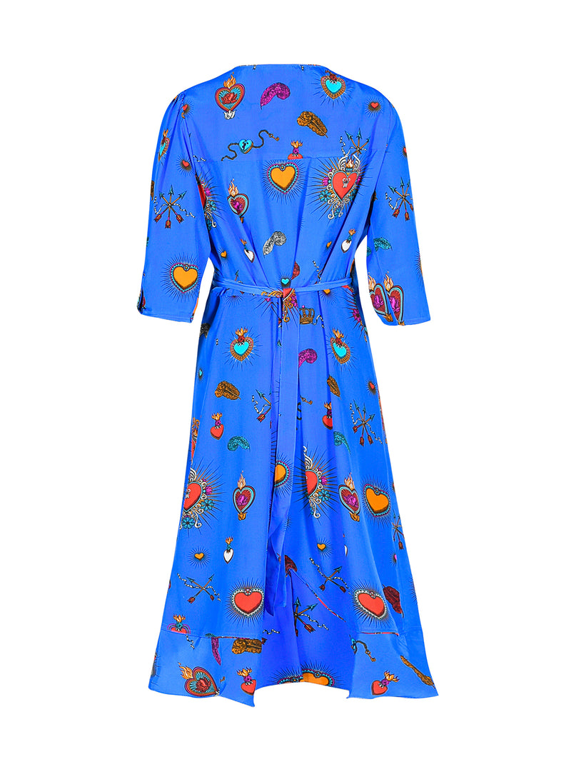 Sweetheart Heart Midi Dress Cornflower Blue