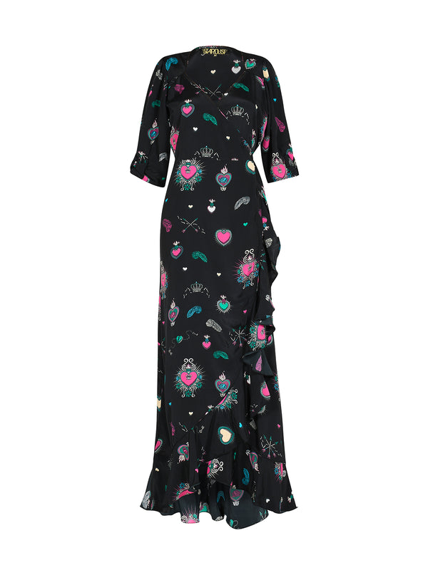 Sweetheart Flamenco Dress Black & Multicolour
