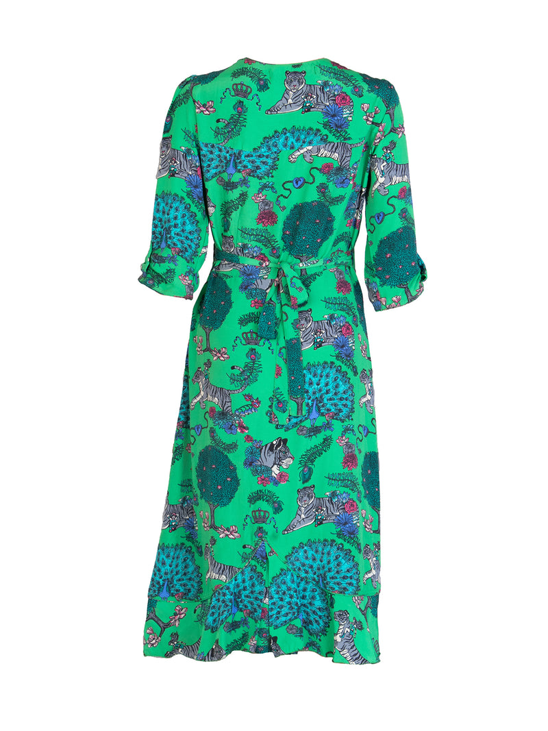 Tiger Sweetheart Midi Dress Electric Green