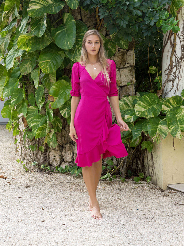 Sweetheart Midi Dress Hot Pink