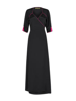 Sweetheart Heart Maxi Dress Black & Hot Pink
