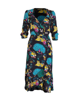 Tiger Sweetheart Midi Dress Black & Multicolour