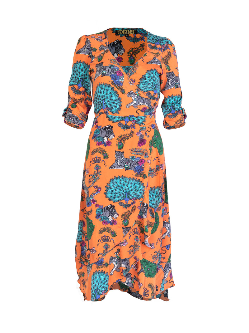 Tiger Sweetheart Midi Dress Tangerine