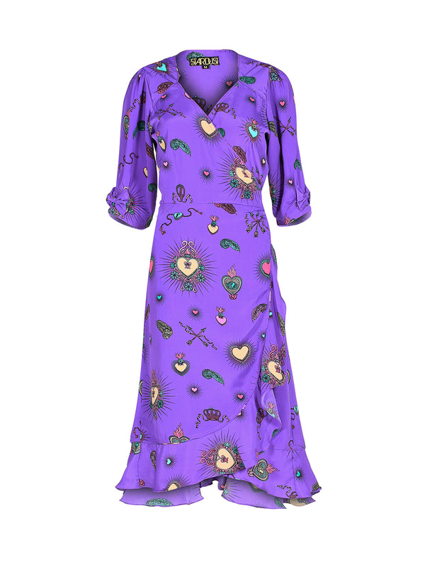Sweetheart Heart Midi Dress Purple
