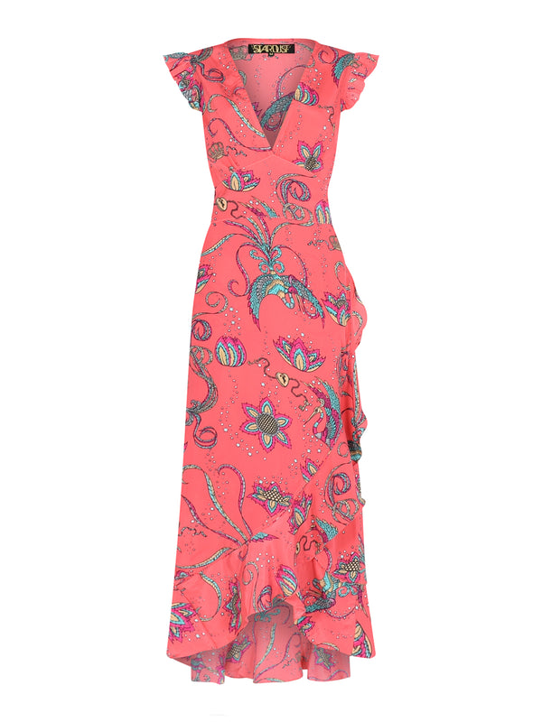 Sunflower Bird Midi Dress Coral
