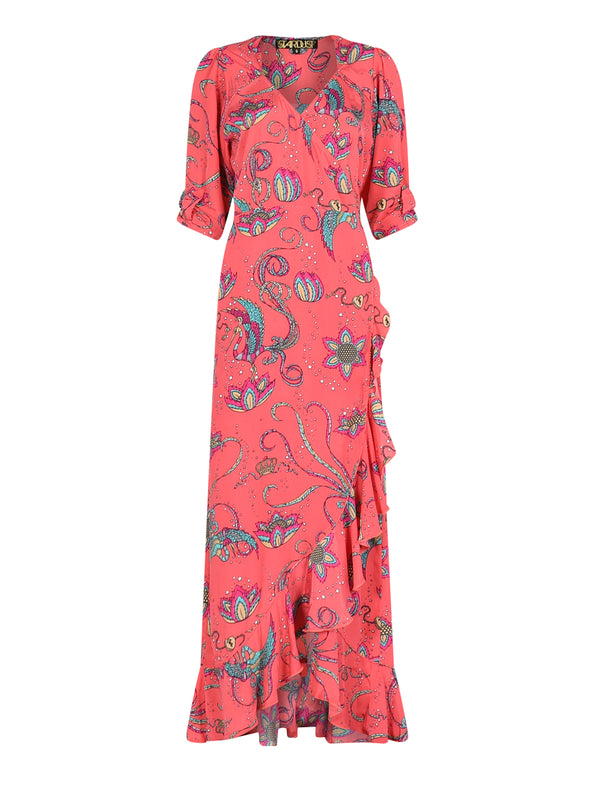 Sweetheart Flamenco Bird Dress Coral