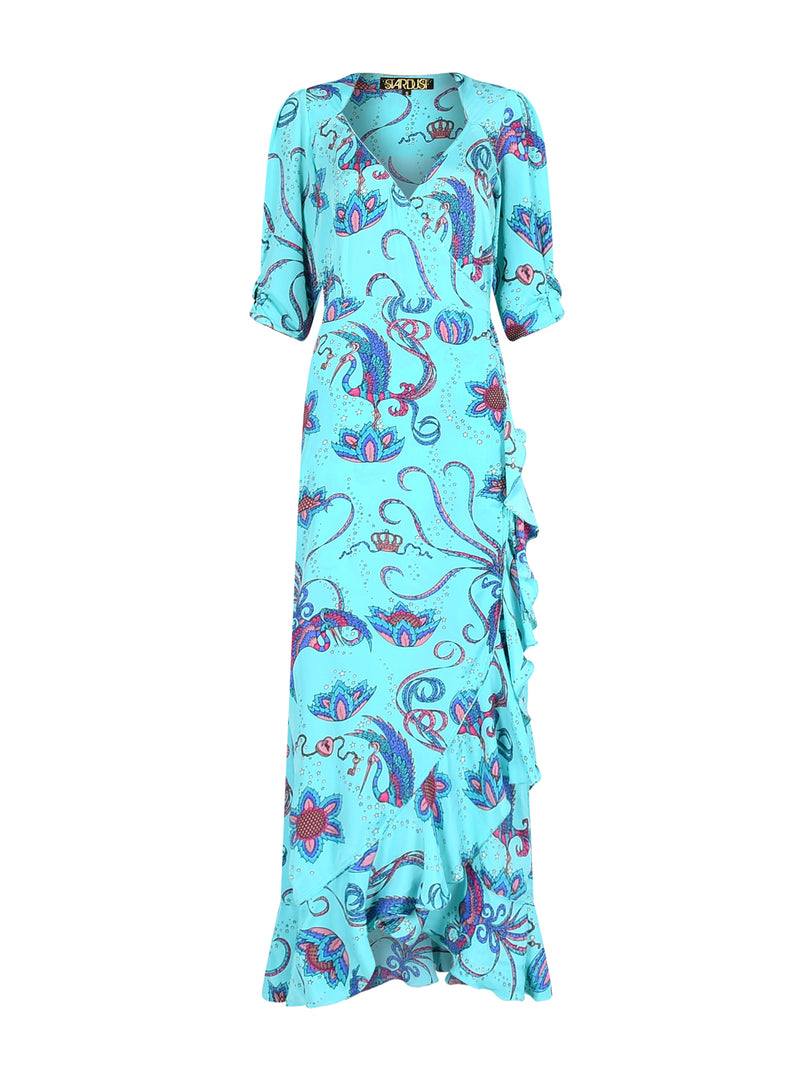 Sweetheart Flamenco Bird Dress Teal