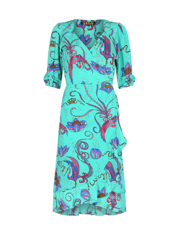 Sweetheart Bird Midi Dress Emerald