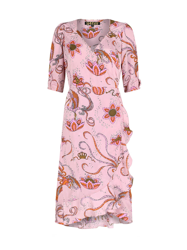 Sweetheart Bird Midi Dress Pink