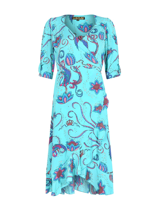 Sweetheart Bird Midi Dress Teal