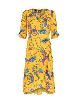 Sweetheart Bird Midi Dress Yellow