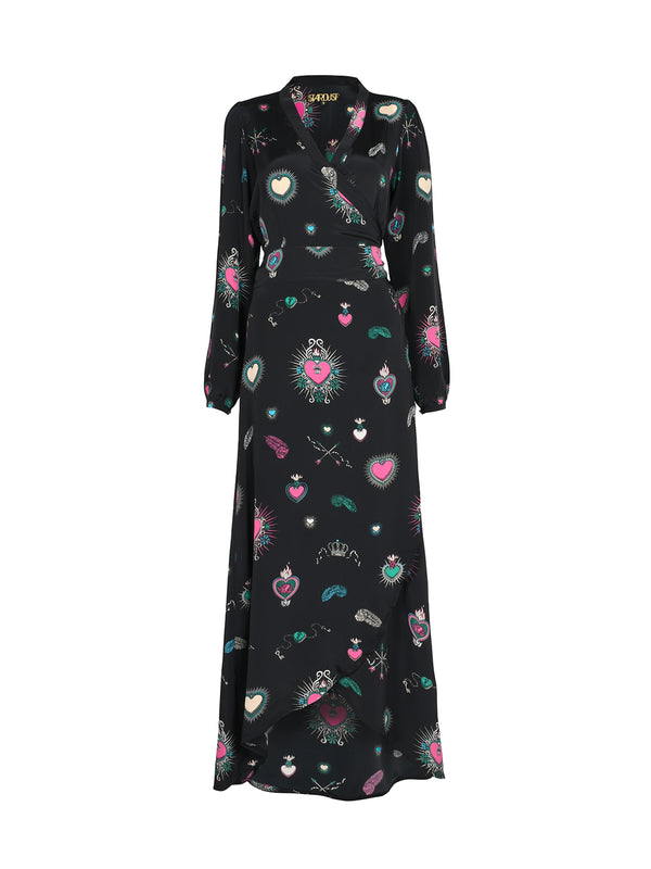 Vivian Heart Dress Black & Multicolour
