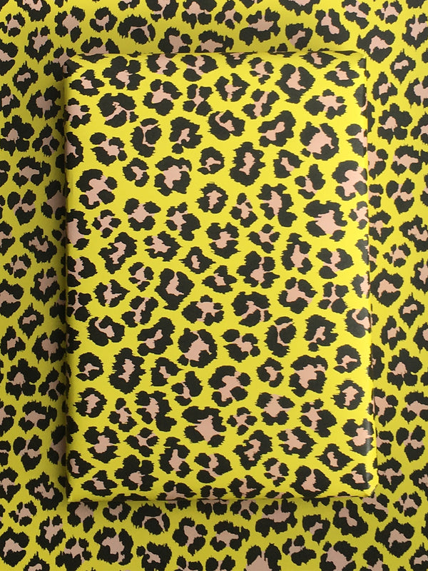 Leopard Wrapping Paper Sheet Yellow/Pale Pink