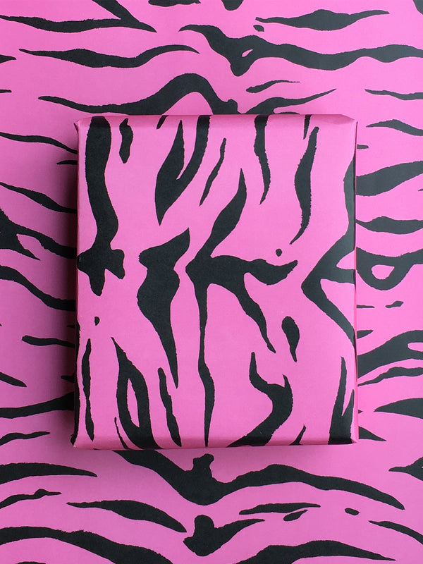 Tiger Wrapping Paper Sheet Pink