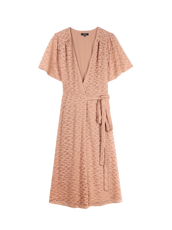 Blush Lace Wrap Dress