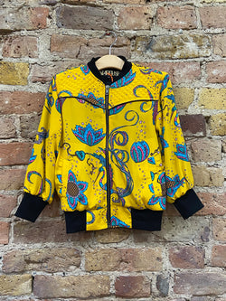 Kids Bird Bomber Jacket Yellow