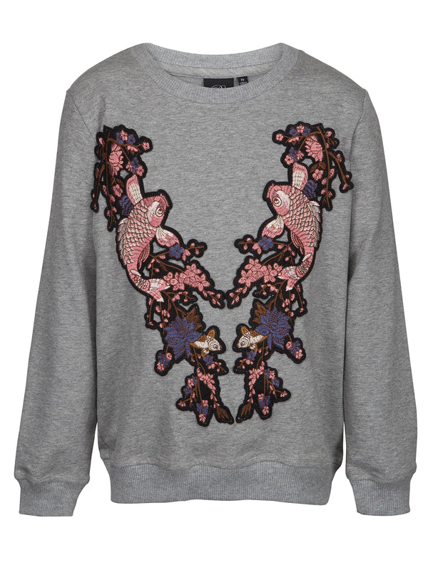 Grey Melange Fish Sweatshirt