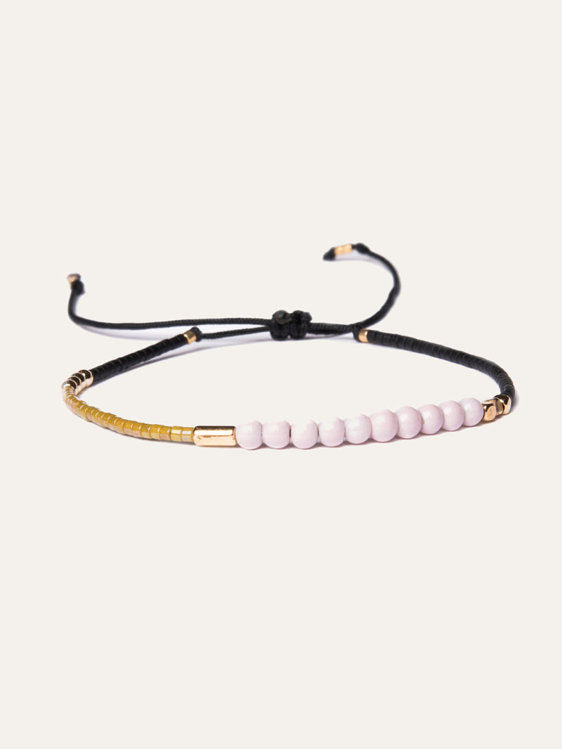Black miyuki bead bracelet with mother-of-pearl pink beads