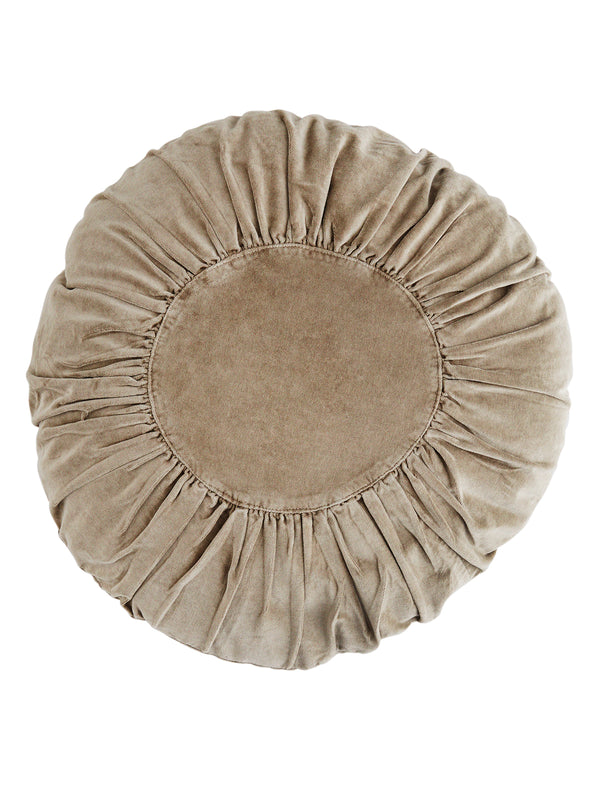 Round Grey Velvet Cushion