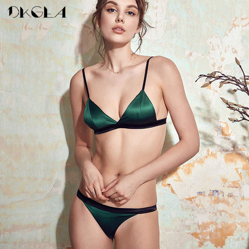 Green Lace Brassiere Ultrathin Cup Bra And Panties