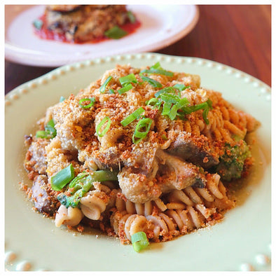 Whole Wheat Fusilli with Caramelized Onion Truffle Sauce