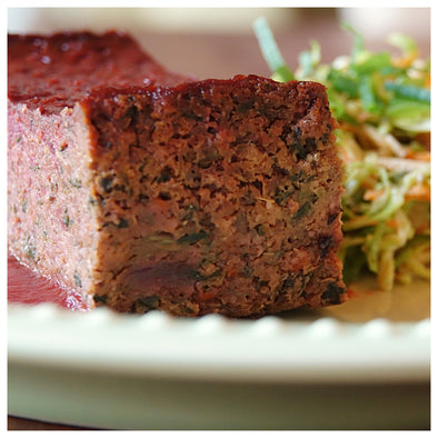 BBQ Beetloaf with Red Flannel Hash and Cabbage Slaw