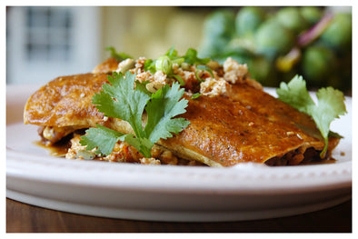 """Chorizo"" and Black Bean Enchiladas with Spanish Rice"
