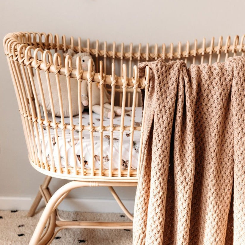 Hazelnut | Diamond Knit Baby Blanket