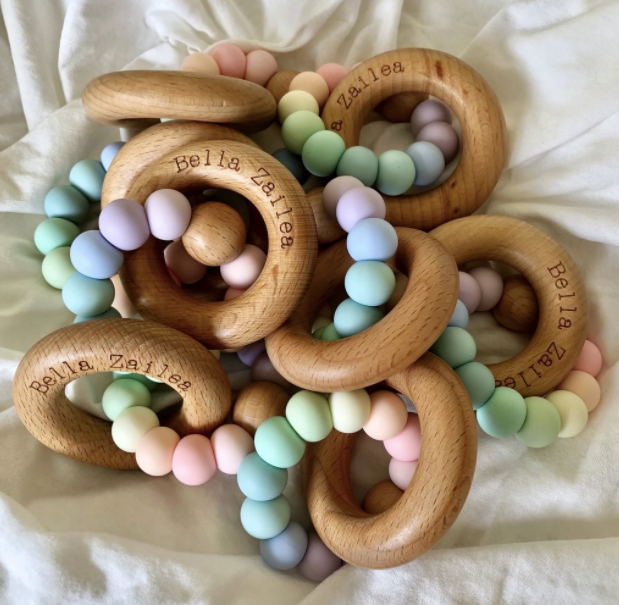 Silicone and Beech Ring Teether