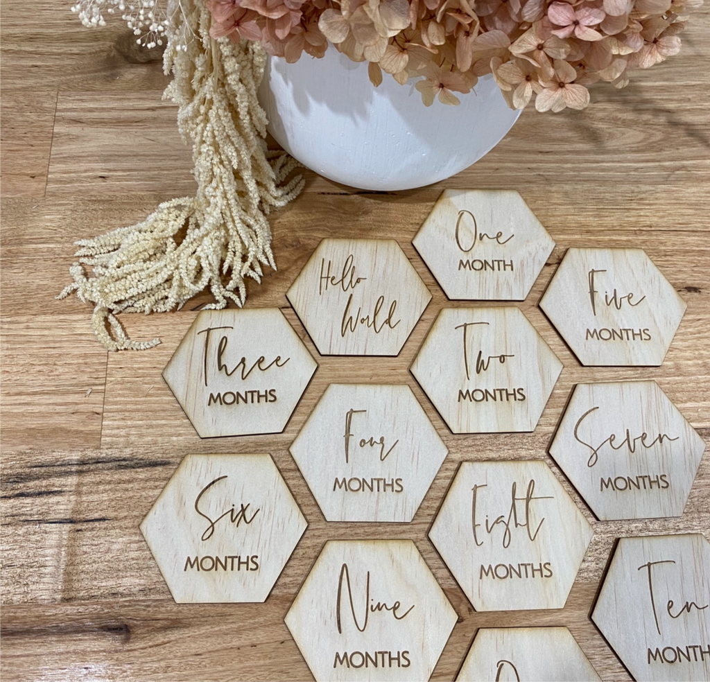 Hexagon Timber Milestone Cards