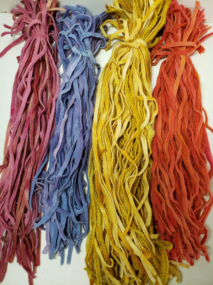 Hand Dyed #6 Wool Strips - Flower Shades - RSS149