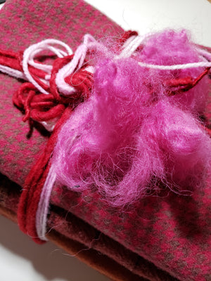 RSS158 - Be My Valentine - One Yard - 100% OOAK Red/Pink Wool Bundle for Rug Hooking or Wool Applique