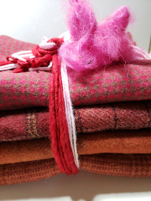 RSS158 - Be My Valentine - One Yard - 100% OOAK Wool Bundle for Rug Hooking or Wool Applique