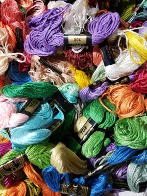 DMC 6 Strand COTTON THREADS ONE POUND Mystery Bag for Cross Stitch, Applique, Embroidery or Punch Needle
