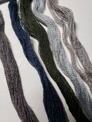 Hand Dyed Wool Thread Dark Neutral Bundle - Gentle Art Wool Threads - 5 skeins of 10 yards