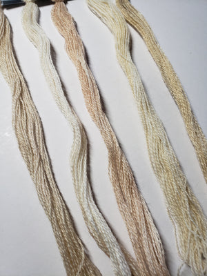 Hand Dyed Wool Thread Light Neutral Bundle - Gentle Art Wool Threads - 5 skeins of 10 yards