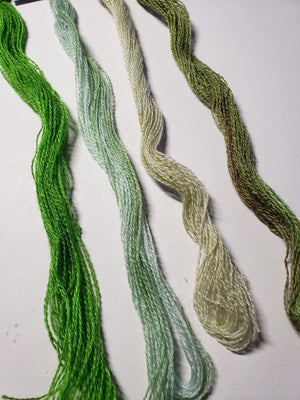 Hand Dyed Wool Thread Light Green Bundle - Gentle Art Wool Threads - 4 skeins of 10 yards