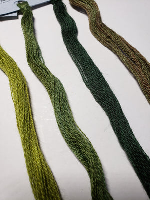Hand Dyed Wool Thread Dark Green Bundle - Gentle Art Wool Threads - 4 skeins of 10 yards