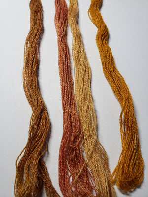 Hand Dyed Wool Thread Golden Orange Bundle - Gentle Art Wool Threads - 4 skeins of 10 yards