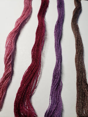Hand Dyed Wool Thread Purple Bundle - Gentle Art Wool Threads - 4 skeins of 10 yards