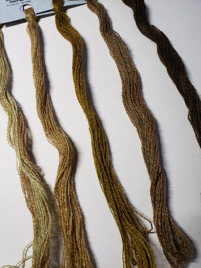 Hand Dyed Wool Thread Beige,Brown Bundle - Gentle Art Wool Threads - 5 skeins of 10 yards