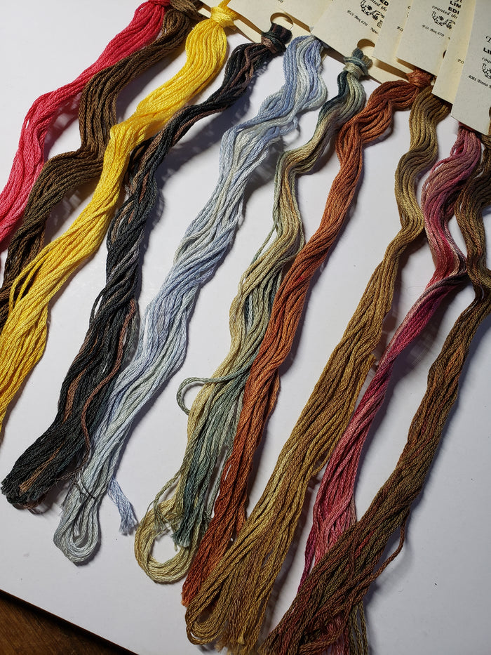 Hand Dyed Cotton 6 Strand Thread Colors of America #0002 - Gentle Art Cotton Threads - 10 skeins of 5 yards