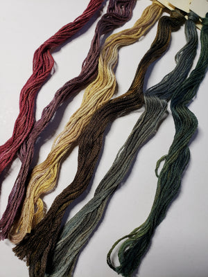 Hand Dyed Cotton 6 Strand Thread - Limited Edition Autumn - Gentle Art Cotton Threads - 6 skeins of 5 yards